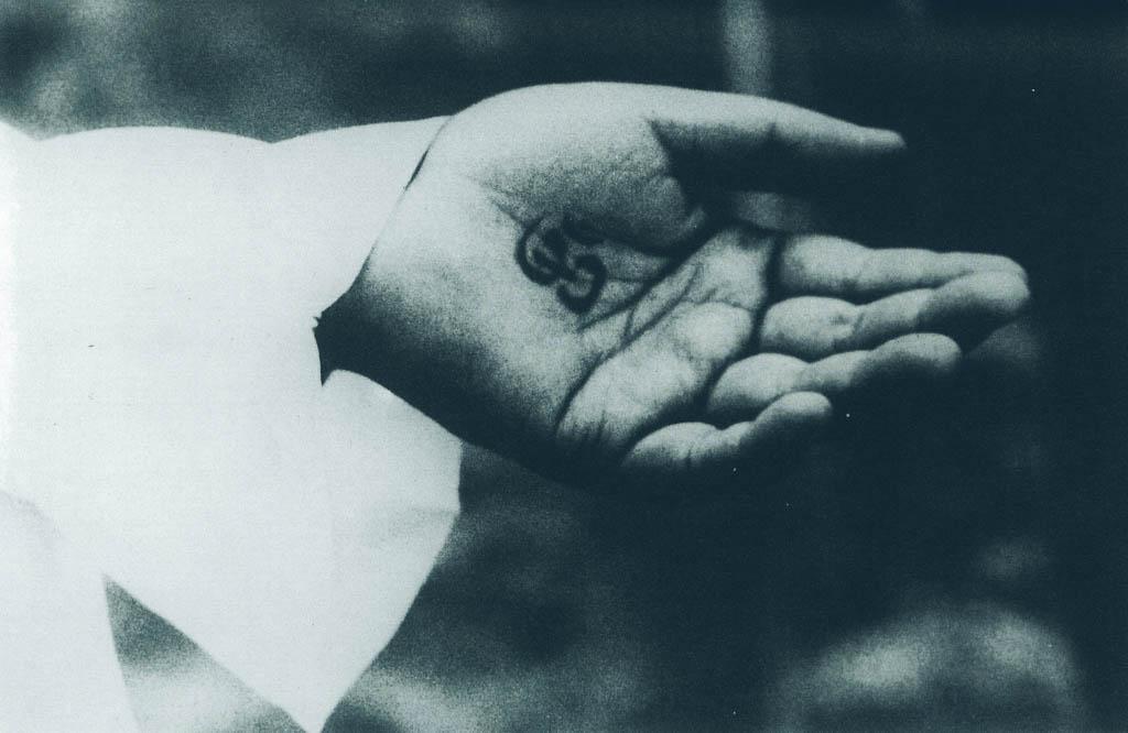 Babajis Hand mit dem Mantra Om Namaha Shivaya